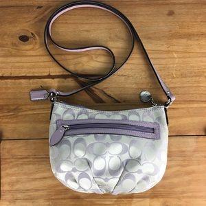 Coach Signature Gray/Lavender Mini Crossbody